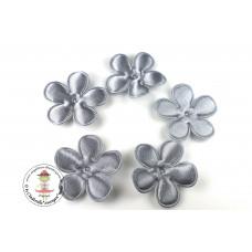 Satin Blume UNI*Grey*5 Stück