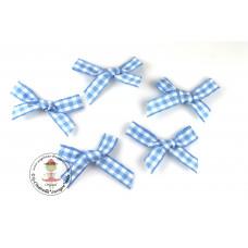 Mini Karo Schleife blau, 5 Stück