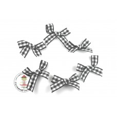 Mini Karo Schleife schwarz, 5 Stück