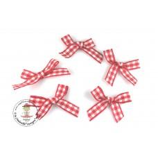 Mini Karo Schleife rot, 5 Stück