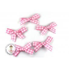 Mini Karo Schleife rosa, 5 Stück