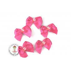 Mini Satin Schleife mit Perle*Pink, 5 Stück