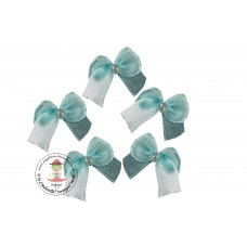 Mini Satin Schleife mit Perle*Aqua, 5 Stück
