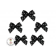 Mini Satin Schleife Dots*schwarz*5 Stück