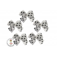 Mini Satin Schleife Dots*weiß*5 Stück