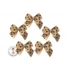 Mini Satin Schleife Dots*beige*5 Stück