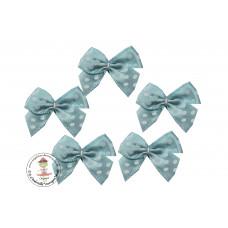 Mini Satin Schleife Dots*hellblau*5 Stück