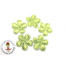 Satin Blume Dots*Lime*5 Stück