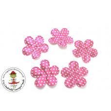 Satin Blume Dots*Pink*5 Stück