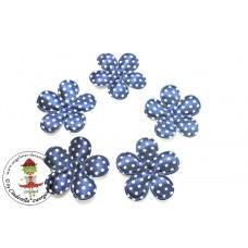Satin Blume Dots*Blue*5 Stück