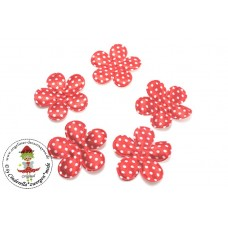 Satin Blume Dots*Rot*5 Stück