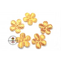 Satin Blume Dots*Gelb*5 Stück