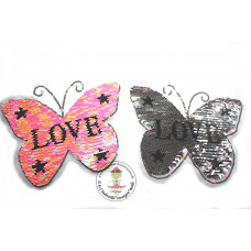 Schmetterling Love*Wende Pailetten Patch