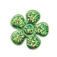 Glitzer Blümchen grün * 5 Stück