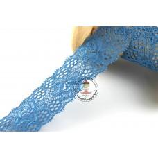 Elastische Spitzenborte Blütentraum*35 mm*Jeansblau