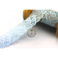 Elastische Spitzenborte Blütentraum*35 mm*Hellblau