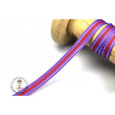 Ripsband*Grosgrainband Lila*Rot-Silber gestreift