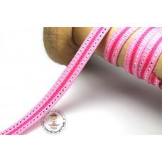 Ripsband*Grosgrainband Rosa*Pink-Silber gestreift