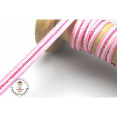 Ripsband*Grosgrainband Rosa-Weiß-Pink-Silber gestreift