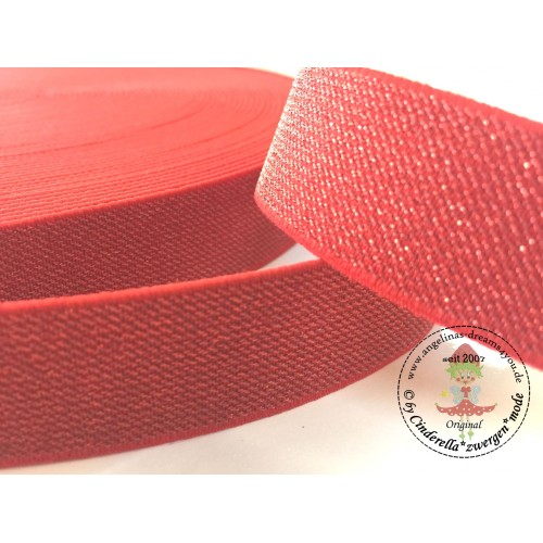 Farbe 1m Gummiband 25mm breit rot