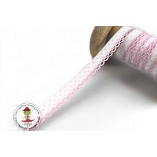 Einfassband mit Häkelborte*weiß/rosa