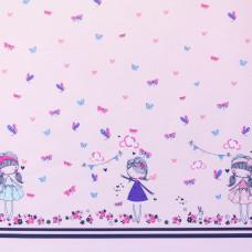 Silikon Popeline * Border * Flowergirl Pink