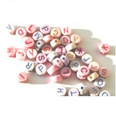 Alphabet Perlen, pastell 100 Stück