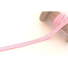 Ripsband*Grosgrainband Weiß*Rosa gestreift