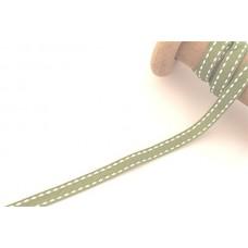 Ripsband*Grosgrainband Lime, Weiß gesteppt