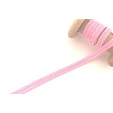 Ripsband*Grosgrainband Rosa, Weiß gesteppt