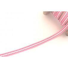 Ripsband*Grosgrainband Rosa*Weiß gestreift, Pink gesteppt