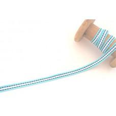 Ripsband*Grosgrainband Aqua*Weiß gestreift, Blau gesteppt