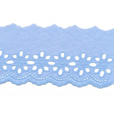 Wäschespitze Blütenzauber 80 mm ♥ himmelblau Baumwolle