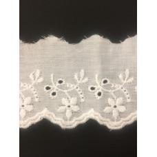 Wäschespitze Bordüre 50 mm*weiß*Baumwolle Ranke