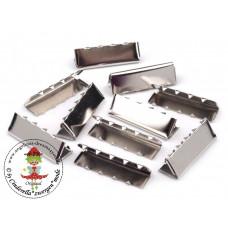 Endstück für Gurtband 30 mm, Silber, 10 Stück