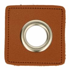 Ösenpatch mit Öse 14 mm * braun* 1 Paar